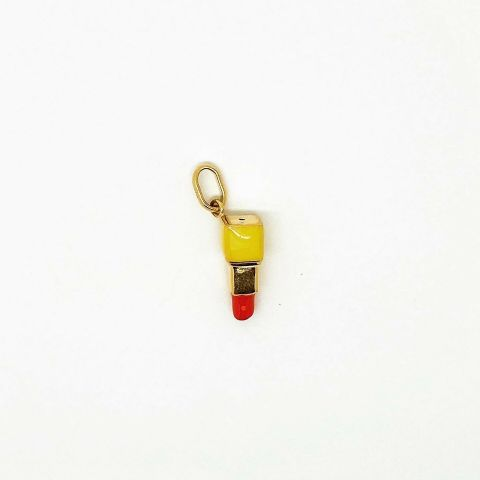 Genuine 9ct Yellow Gold Hallmarked Red Lipstick Charm/Pendant with Enamel Detail